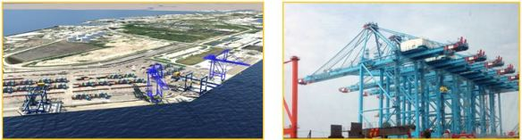 Port Tampa Bay commissioners approved the purchase of two new post-Panamax gantry cranes, like those seen above, right.  Combined with the port's share of financing, the purchase will also be made possible through $12 million in state funding, approved in the governor's 2015 budget and a grant program of the Florida Department of Transportation. New high-profile cranes will enable increased container capacity at the Port Tampa Bay Container Terminal.  Left image: Rendering of berths 212 and 213 at Port Tampa Bay Container Terminal, future site of two new post-Panamax gantry cranes.
