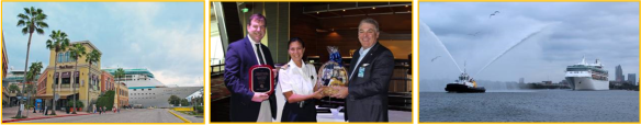 Pictured, L to R: Vision of the Seas docks at Cruise Terminal 2 at Port Tampa Bay.  Pat Allman, port commissioner, and Paul Anderson, port president/CEO, welcome Lis Lauritzen, captain (center) and crew of Vision of the Seas, upon its maiden call at her new home port, Saturday, November 22.  With tug boat fanfare, Royal Caribbean International's Vision of the Seas departs the Tampa harbor after her maiden call to home port, Port Tampa Bay, November 22.