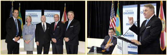 Left: Glenn Cooper, shareholder, Gray Robinson, P.A./Global Florida Advisory Council; Sharon Hillstrom, president, Bradenton Area Economic Development Corp.; Carols Buqueras, executive director, Port Manatee; Joe Lopano, CEO, Tampa International Airport; Paul Anderson, port president & CEO, Port Tampa Bay. Right: Rick Homans, left, listens to Paul Anderson as he discusses Port Tampa Bay's trade stats with Brazil, the port's number one trade partner, and also ways of developing future business opportunities with Brazil.