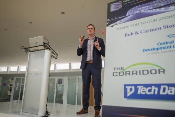 John Tonnison, Executive Vice President and Chief Information Officer of Tech Data, speaks at the second annual Industry Partner Summit at Florida Polytechnic University, which drew more than 100 representatives from high-tech firms.